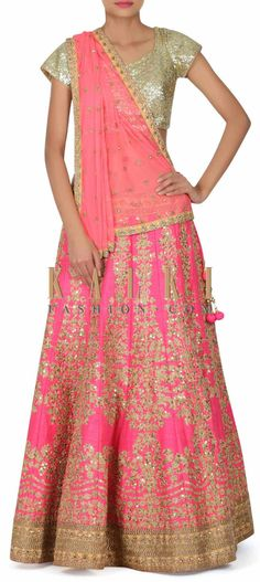 Buy this Pink lehenga adorn in zari and zardosi embroidery only on Kalki