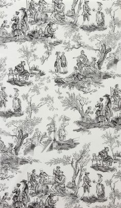 Alexander Henry MIDNIGHT PASTORAL, Black and White, Day of the Dead Toile, Skeleton Cotton Quilt Fabric - by the Yard
