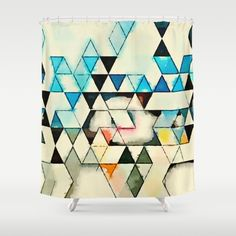 Buy Shower Curtains featuring Geometric W1 by thinschi. Made from 100% easy care polyester our designer shower curtains are printed in the USA and feature a 12 button-hole top for simple hanging.