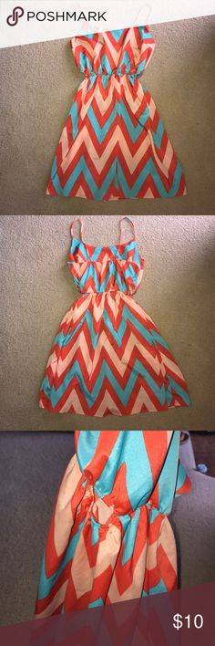 """DONATING 7/1🌟Chevron Pattern Side Cut Out Dress This dress is OS and is super stretchy. It's too big in the bust area for me and I'm a 34C, mostly because of the strap length. Super cute mint, coral, and baby pink chevron pattern with cut outs on both sides at the waist. Measurements 15"""" Bust; 19"""" from waist to hem; 6.5"""" strap drop. Material is spandex polyester blend. Straps are not adjustable. This dress would fit a size medium or large best. Willy Jay's Dresses Mini"""