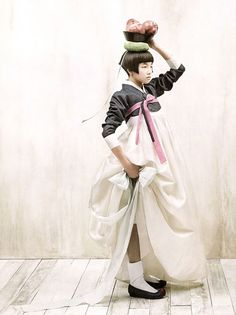 white + darkest grey + light pink : Kim Kyung Soo for Vogue Korea.