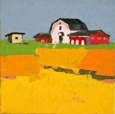 Fields of Gold White Barn Small 8x8 Original Oil by DonnaWalker, $75.00