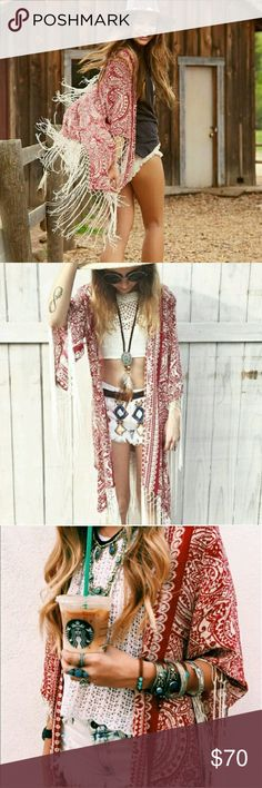 NWT LF Millau fringe parsley boho kimono cardigan New with tags  LF stores Millau long kimono fringe boho cardigan size Small.   Beautiful bohemian parsley print in dust red/ white combo and braided fringe finish.  Due oversized loose fitting, would work for various sizes.   Retail for 188 before tax  - No trades. - Cool discounts on bundles **  #LFstores #Millau #duster #bohemian  #hippie #coachella #festivals #free #people #gipsy #nastygal LF Sweaters Cardigans