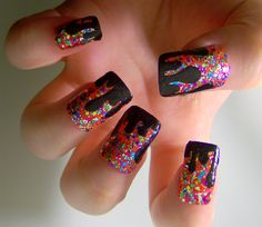 They kind of remind me of a birthday party gone wrong. Pretty Nail Designs, Pretty Nail Art, Nail Art Designs, Gorgeous Nails, Love Nails, Birthday Nail Art, Japanese Nail Art, Girls Nails, Diy Nails