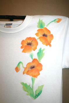 $28.00 Hand Painted T Shirt- Bright Orange Poppies
