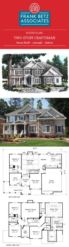 Stone Bluff 3162sqft, 5bdrm Two story Craftsman by Frank Betz Associates