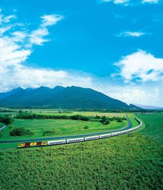 Sunlander - see the world through travel. These train journeys are the best around Train Truck, Holiday Places, Train Journey, Stunning View, Landscape Photographers, Locomotive, New Zealand, Scenery, Places To Visit