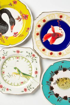 Nature Table Collection, lovely plates by Lou Rota for Anthro! Ceramic Tableware, Ceramic Pottery, Kitchenware, Dessert Design, Animal Plates, Design Plat, Anthropologie Home, Nature Table, Plate Art