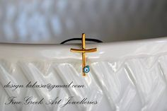 Σταυρός ματάκι φυλαχτό σμάλτο χειροποίητο ασημένιο κολιέ 925 επιχρυσωμένο