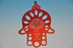 Ceramic Hamsa Hand, wall hanging decoration, gorgeous red and orange glazes, home d�cor amulet,  Wedding gift, Hostess gift