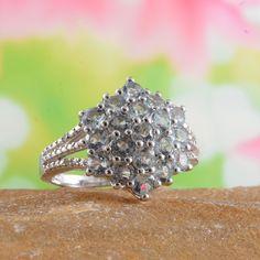 Espirito Santo Aquamarine and Diamond Ring in Platinum Overlay Sterling Silver (Nickel Free)