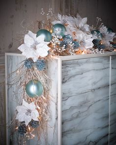Ice+Blue+&+Silver+Pre-Lit+6\'+Christmas+Garland+at+Horchow.