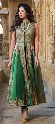432353 Green  color family Party Wear Salwar Kameez in Art Silk fabric with Machine Embroidery, Thread, Zari work .