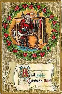 Christmas 1910 Santa Claus Unloads Toys Boy Watches Collectible Antique Postcard - Moodys Vintage Postcards - 1
