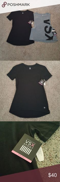 Victoria's Secret Sport Tops I'm selling these workout tops as a set. They are brand new and never worn. The solid black t-shirt is loose and flowy. The heather grey shirt is a muscle style tank top. Victoria's Secret Tops