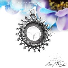 1pcs 925 Sterling Silver Wire Crown Bezel Pendant by AoryNL