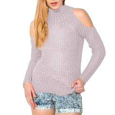 8de495a1859f63 HYH HAOYIHUI Brand New Women Fashion High Collar Pullover Sexy Long Sleeve  Off Shoulder Solid Casual Loose Sweater