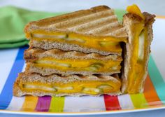 Grilled Cheese and Pickle Panini on Weelicious ... OMG YUM! with a side of blue cheese to dip in!