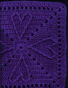 Cable Heart Free Crochet Square Pattern 12 Inch