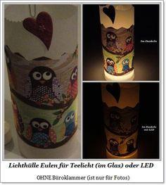 Lichthülle Eulen Stoff für Teelicht o. LED von ღKreawusel-Designღ auf DaWanda.com