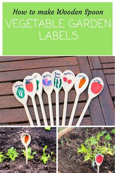 How to make Wooden Spoon vegetable garden labels with thimble and twig. Children… How to make Wooden Spoon vegetable garden labels with thimble and twig. Creative garden ideas for children. Organic Vegetables, Growing Vegetables, Vegetables Garden, Veggies, Organic Gardening, Gardening Tips, Gardening Quotes, Gardening With Kids, Balcony Gardening