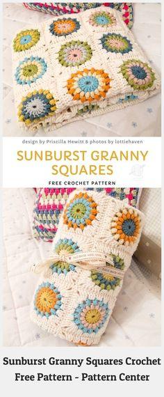 Granny Square Pattern Free, Granny Square Häkelanleitung, Granny Square Crochet Pattern, Crochet Afghans, Crochet Squares, Crochet Blanket Patterns, Crochet Stitches, Knit Crochet, Granny Squares