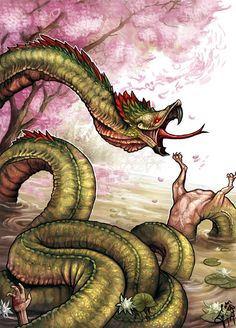 Mboi Tui- Guarani myth: son of tau and kerena. It was depicted as an enormous serpent like creature with a parrot head and short stubby legs.