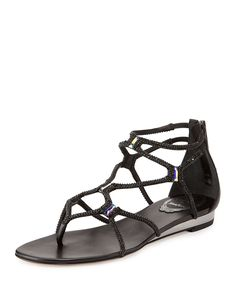 "Rene Caovilla Swarovski crystal-embellished leather sandal. 0.8"" metallic flat heel. Thong strap. Geometric caged vamp. Back zip eases dress. Smooth outsole. Made in Italy."