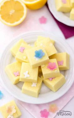 This lightning quick microwave lemon fudge recipe yields the perfect little treat! A lovely no bake recipe that's great for kids to help and makes a lovely homemade gift. Click for the full recipe, helpful tips and your FREE e-cookbook! Easy Baking Recipes, Fun Easy Recipes, Sweet Recipes, Lemon Fudge Recipe, Fudge Recipes, Easy Main Course Recipes, No Bake Desserts, Dessert Recipes, Mothers Day Desserts