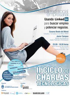 """El II Ciclo de Charlas Tecnológicas de la empresa municipal El Puerto Global vuelve con la ponencia """"Usando Linkedin para buscar empleo y potenciar negocios"""".    Más información:  https://www.facebook.com/events/352516711502073/"""