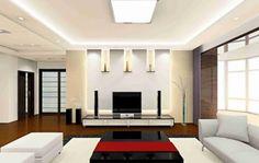 bonito salón con diseño moderno y luces