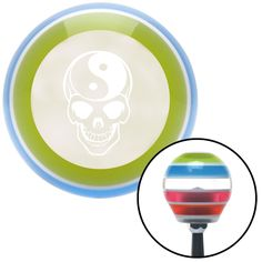 White Yin Yang Skull Stripe Shift Knob with M16 x 15 Insert
