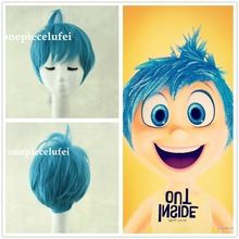 Free shipping 2015 new movie Inside Out Joy short blue ainme cosplay party wig +free wig cap