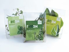 Fresh is a concept for herb packing focused on stainability. The Vegetable plastic packaging is designed to have a second life allowing user to get the most out of their herbs. The live herb packaging top transforms into a storage box for refrigerati… Salad Packaging, Yogurt Packaging, Cool Packaging, Tea Packaging, Cosmetic Packaging, Brand Packaging, Vegetable Packaging, Packaging Stickers, Benefits Of Organic Food