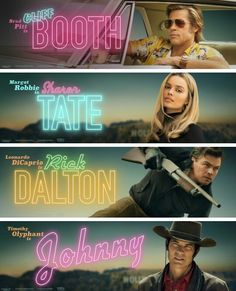"O pour ""Once upon a time in Hollywood"" -Quentin Tarantino Go To Movies, Indie Movies, Top Movies, Action Movies, Sharon Tate, Margaret Qualley, Jackie Brown, Pulp Fiction, Brad Pitt"