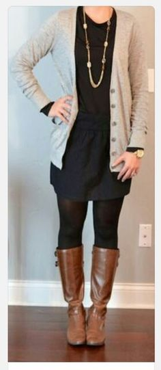 Fall outfit. Black, brown and nude