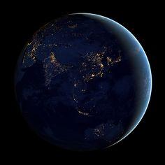 Earth at Night 2012: Hemisphere Views