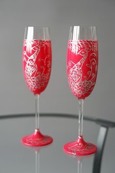 Set of Dark Pink Wedding Flutes with Peacock - Wedding Toasting Glasses - Wedding Decoration - Handmade Wedding Favor - Anniversary Wedding Toasting Glasses, Wedding Champagne Flutes, Champagne Glasses, Handmade Wedding Favours, Wedding Favors, Wedding Decorations, Dark Pink Weddings, Peacock Wedding, Bridesmaid Gifts