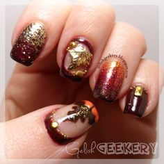 Gelish Japanese Nail Art Autumn Leaf Nails with Glitter by Gelish Gekery