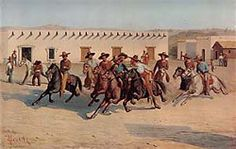"""""""The Watermelon Race, San Antonio"""" Theodore Gentilz (1848) Gentilz was engaged in 1844 by the French entrepreneur Henri Castro to serve as surveyor, artist, and promotion agent for Castro's projected colony in Texas. He laid out the cities of Castroville, D'Hanis, and Quihi, Texas."""