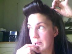 Retro Pin Up hair style Roll and Twist tutorial