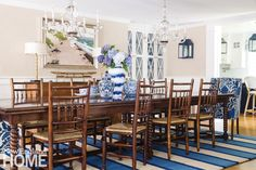 The dining room fulfills the owners' wish for a space that seats their large extended family without being too formal.