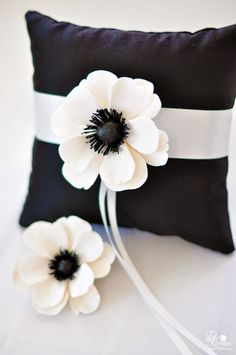 DK Designs - white and black wedding, anemone, hair flower and ring pillow White Anemone, Anemone Flower, My Flower, Ring Pillows, Paper Flower Backdrop, White Cottage, Home And Deco, White Decor, Handmade Flowers