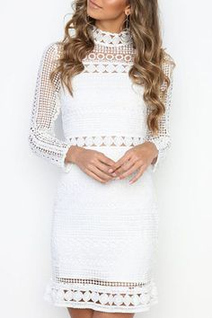 Fashion White Lace Women Mini Dress Vestidos Elegant O-neck Full Sleeve Ladies Dresses Female Simple O-neck Party Frocks Vestidos Sexy, Mini Vestidos, Short Beach Dresses, Sexy Dresses, Ladies Dresses, Unique Dresses, White Lace Mini Dress, Lace Dress, Summer Dresses 2017