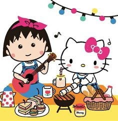 Hello Kitty x Chibi Maruko-chan Hello Kitty Art, Hello Sanrio, Baby Friends, Hello Kitty Wallpaper, Sanrio Characters, Drawing For Kids, Childhood Memories, Chibi, I Am Awesome