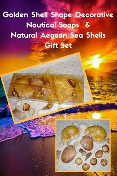 Natural Greek Sea Shells found on the beaches of Paros island (Aegean Sea) in a golden very nice decorated Handmade Gift Set with two Decorative shell shape Scented Luxury Soaps in golden white color and pomegranate-berry perfume. Sea shells and natural handmade glycerin shell soaps for Greek Beaches memories and Aegean Seas Breath of Fresh Air!  A very elegant, stylish gift for any occasion: Father's Day, any Celebration, any Ceremony, Anniversary, Feast, Birthday, Party.......