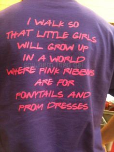Pink Ribbons In honor of the Race for the Cure in Little Rock tomorrow, today's Southern Fried Days gets serious. I snapped this picture a couple of years ago at a local crafts fair on the day of the local race. This is hands down the best race t-shirt slogan. I wish I could remember the race Continue Reading