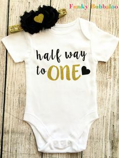 Half Birthday 6 Month Baby Girl Outfit Black by FunkyBubbaloo