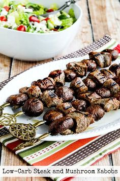 Low-Carb Steak and Mushroom Kabobs are a delicious option for a low-carb meal!