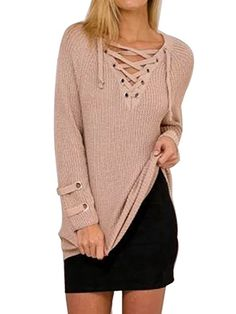 761c7ced304a Womens Fall Winter Bandage Casual Sweater Knitwear Mini Dress *** Be sure  to check out this awesome product. Annie Moore · Lace Up Sweater